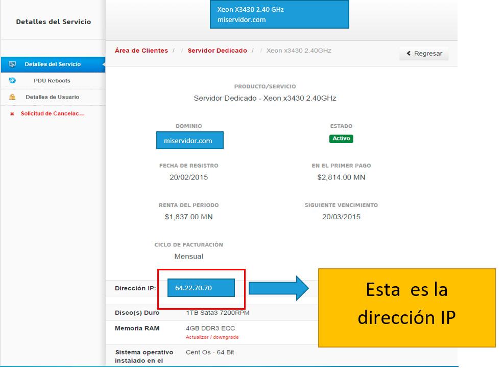 ip de servidor dedicado
