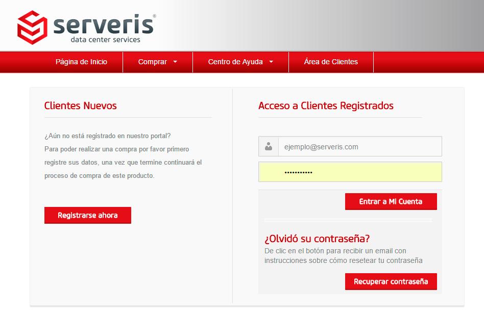 Portal para clientes Serveris