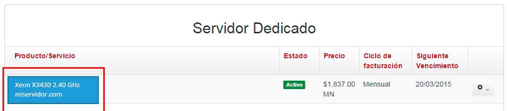 servidor dedicado detalle